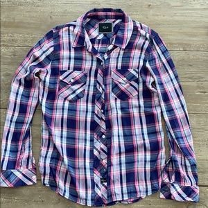 Rails blue/pink/white button down shirt